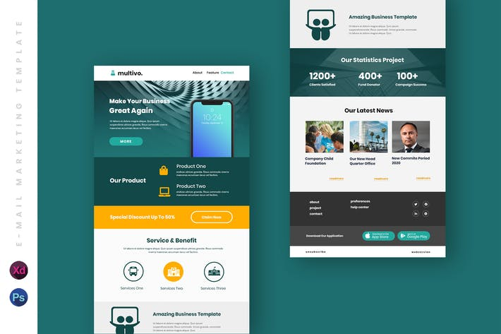 Thumbnail for Business Email Newsletter UI Template
