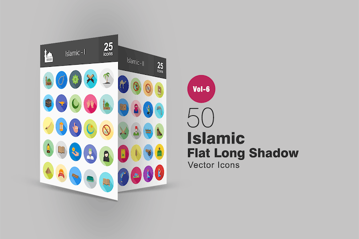 Thumbnail for 50 Islamische flache Shadowed Icons