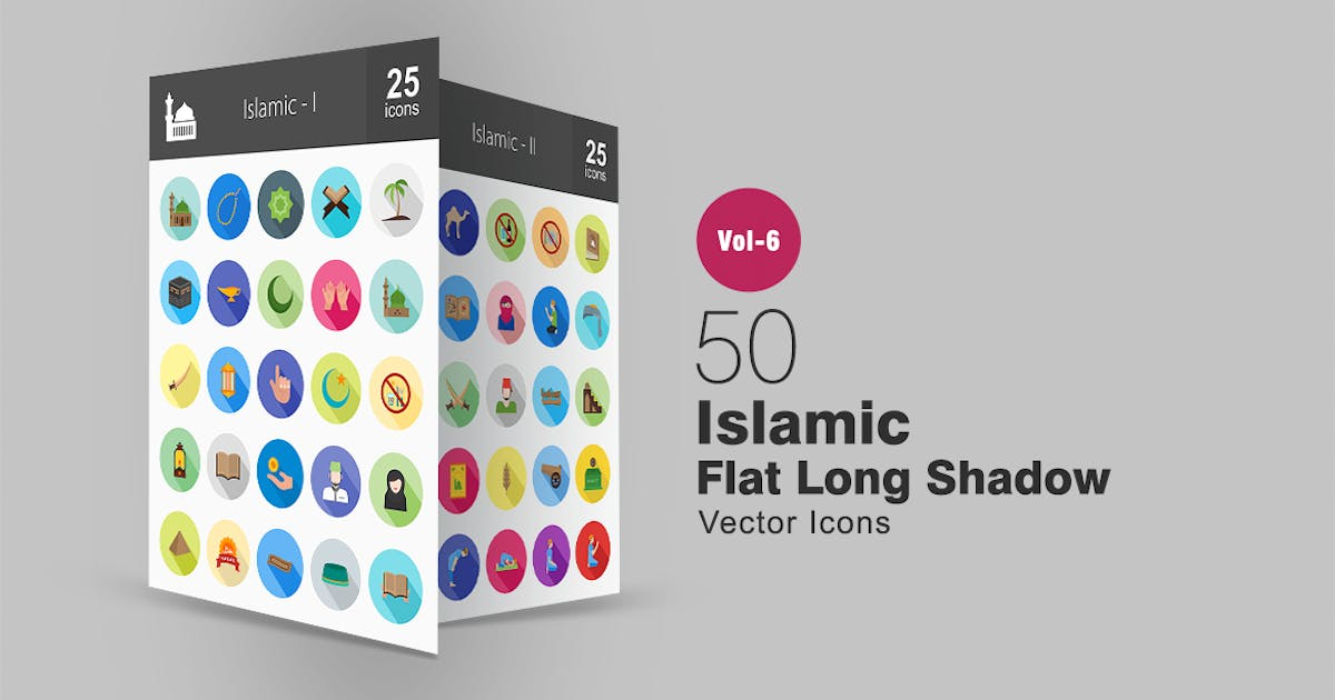 Download 50 Islamic Flat Shadowed Icons by IconBunny