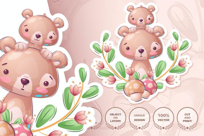 Thumbnail for Süße Bärenfamilie - nahtloses Muster