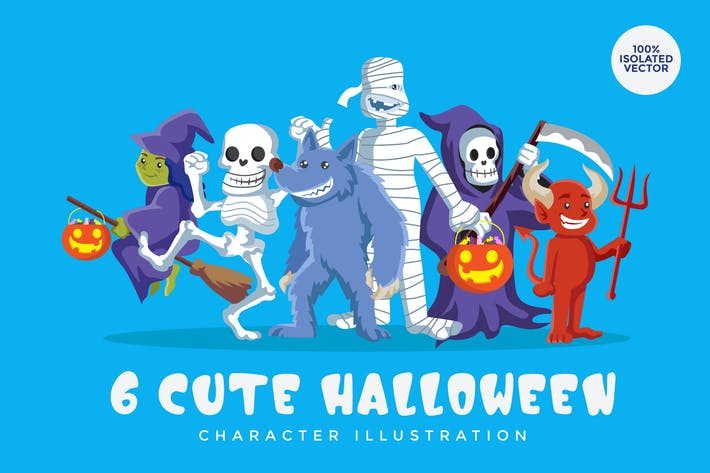 Thumbnail for 6 Halloween Monster Vector Character Set 2