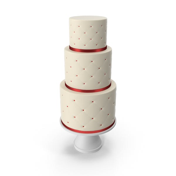 Cascade Cake with Decor of Red Ribbon