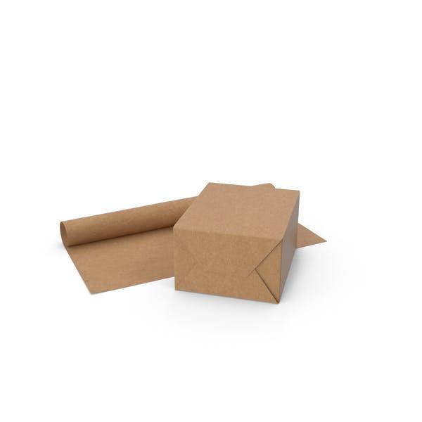 Подарочная коробка из ремесленной бумаги с рулоном бумаги