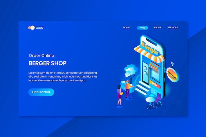 Thumbnail for Burger Shop Online Isometric Concept Landing Page