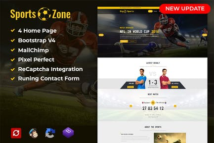 SportsZone: Sports Club, New & Game Template