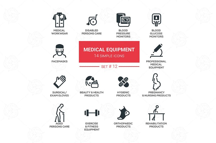 Thumbnail for Medical equipment - simple flat design icons set