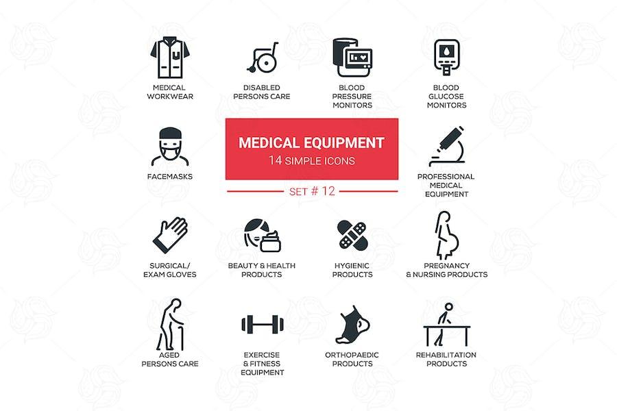 Medical equipment - simple flat design icons set