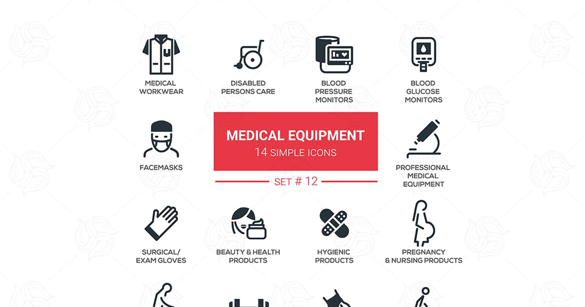 Download Medical equipment - simple flat design icons set by BoykoPictures