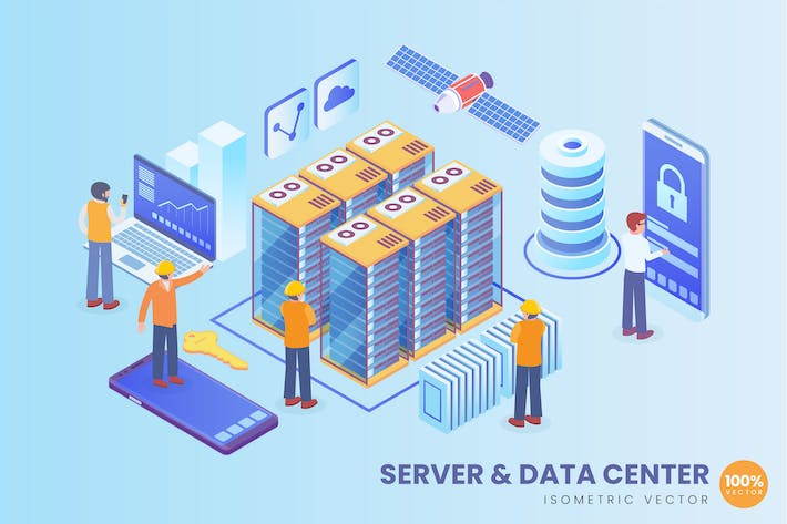 Isometric Server And Data Center Vector Concept