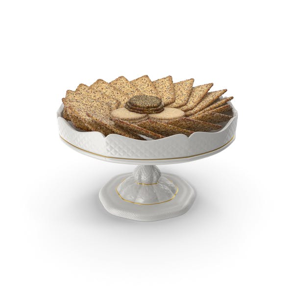 Small Fancy Porcelain Bowl with Crackers with Various Seeds