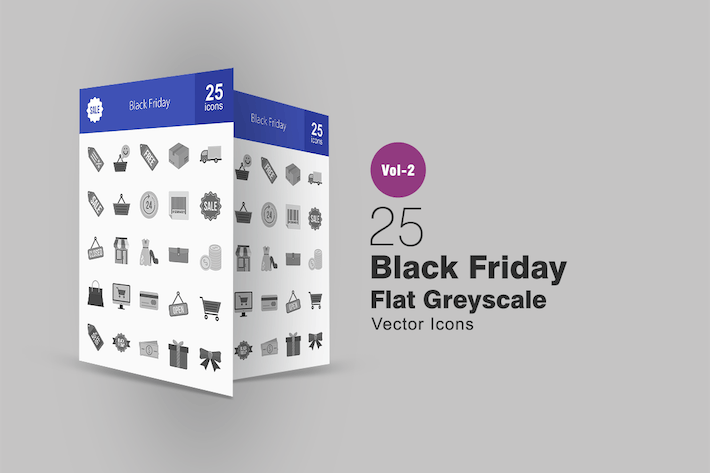 Thumbnail for 25 Black Friday Greyscale Icons