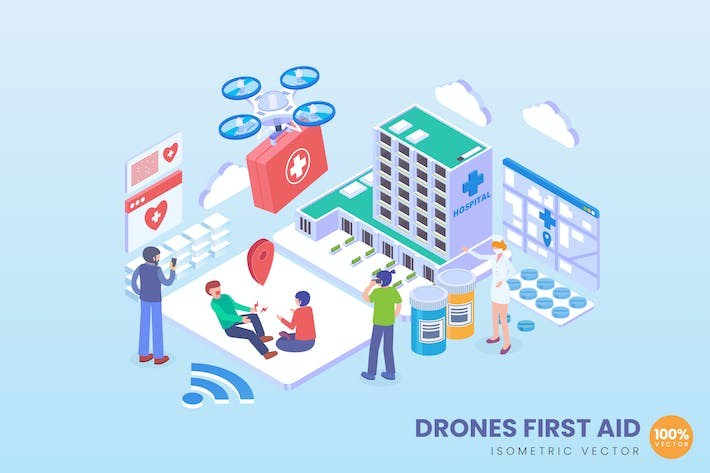 Thumbnail for Isometric Drone First Aid Vector Concept