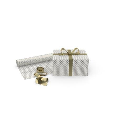 Weiß- und Goldmuster-Geschenkbox mit Papierrolle und Goldfolienband