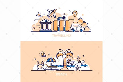 Travelling and Beach - Line illustrations