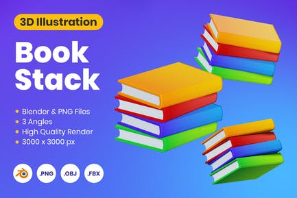 3D Book Stack