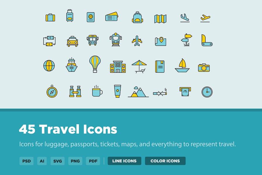 45 Thin Line Travel Icons
