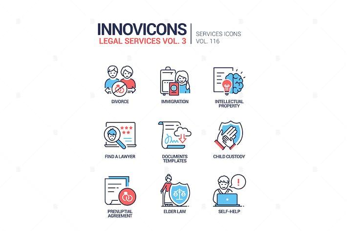 Thumbnail for Servicios jurídicos - conjunto de Íconos de estilo de diseño de línea