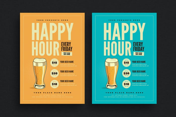 Cover Image For Happy Hour Beer Promotion Flyer
