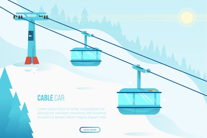 Thumbnail for Cable Car - Vector Landscape and Building
