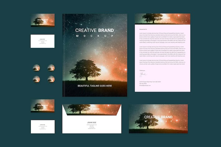 Thumbnail for Branding identity mock up - Starry Night for Psd