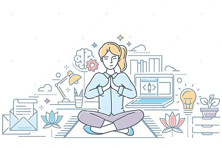 Thumbnail for Mindfulness - line design style illustration