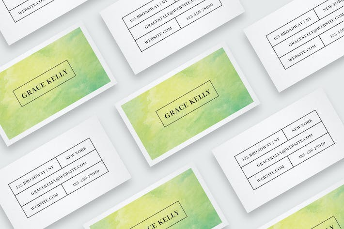 Thumbnail for Business card template with watercolor background