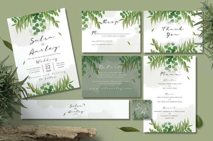 Thumbnail for Foliage Wedding Invitation Set