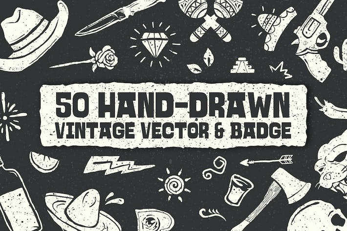 Thumbnail for 50 handgezeichnete Vintage Vektor & Badge