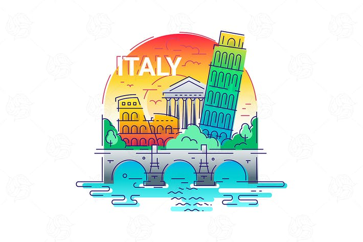 Thumbnail for Italy - modern vector line travel illustration