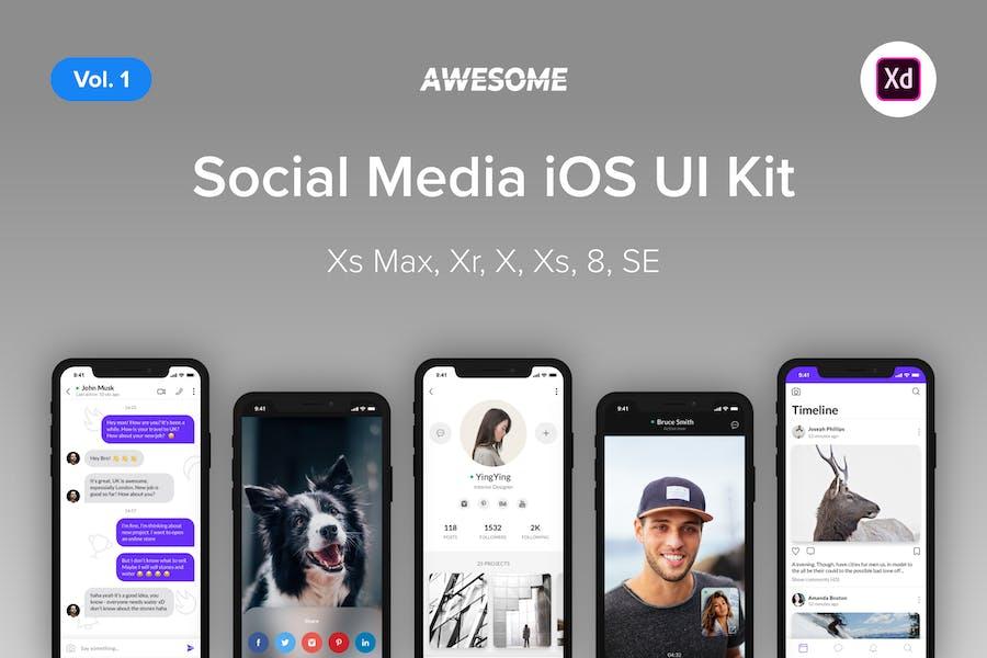 Awesome iOS UI Kit -Social Media Vol. 1 (Adobe XD)