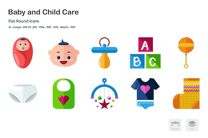 Thumbnail for Baby and Childcare Flat Icons