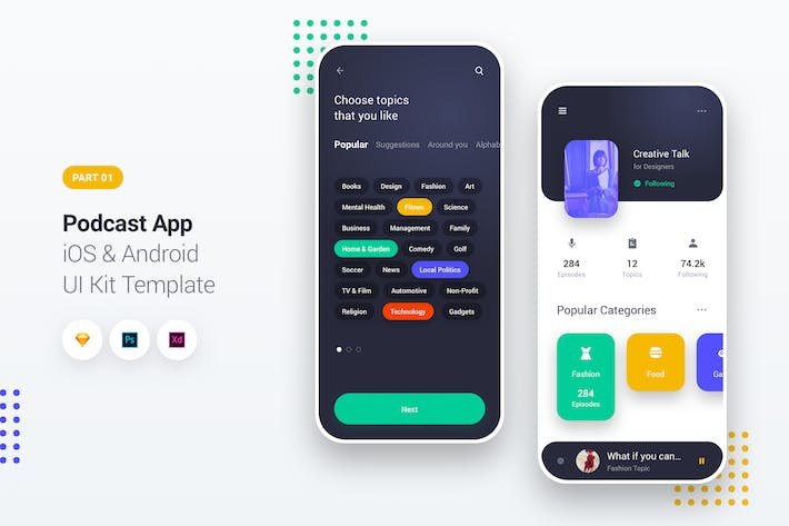 Thumbnail for Podcast Player App iOS & Android UI Kit Template 1