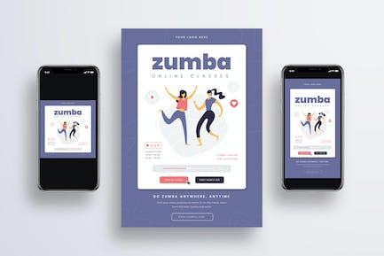Zumba Online Class Flyer + Social Media