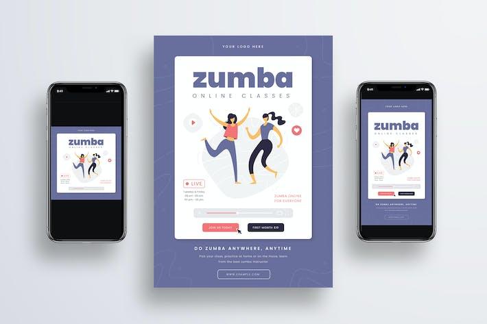 Thumbnail for Zumba Online Class Flyer + Social Media