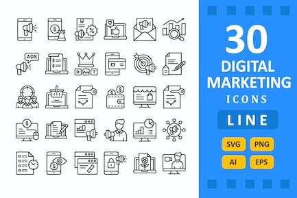 30 Íconos de Marketing Digital - Línea