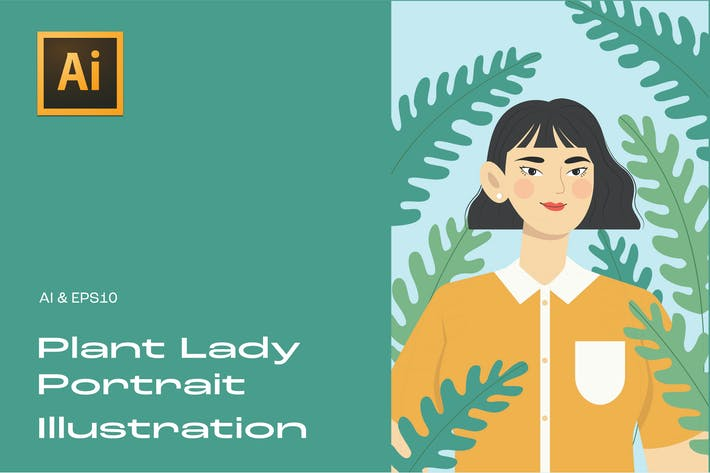 Thumbnail for Plant Lady Portrait Illustration 1