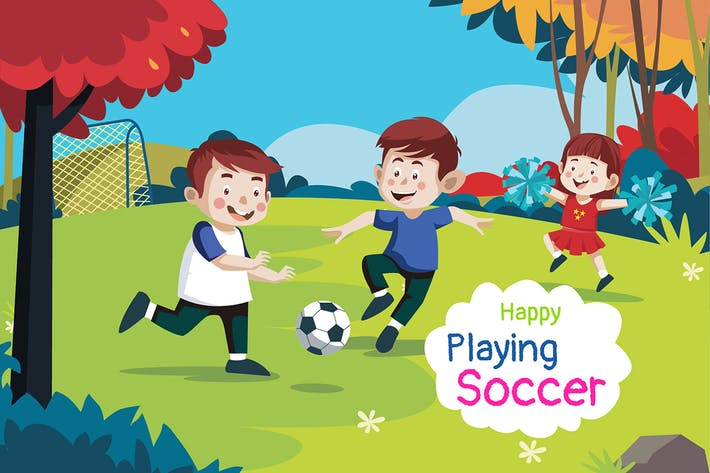 Happy playing soccer - Illustration