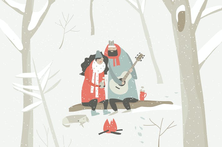 Thumbnail for Boy plays guitar for a girl in the winter forest.