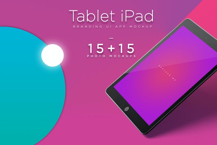 Thumbnail for iPad Tablet UI App Mockups with Vivid Backgrounds