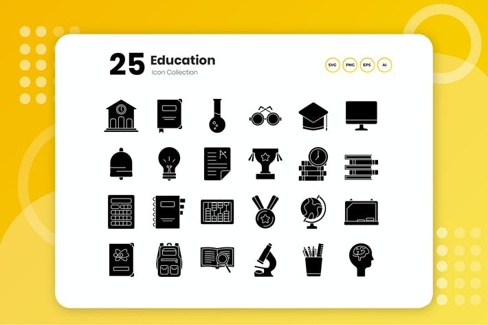 Thumbnail for 25 Education Glyph Icon Set