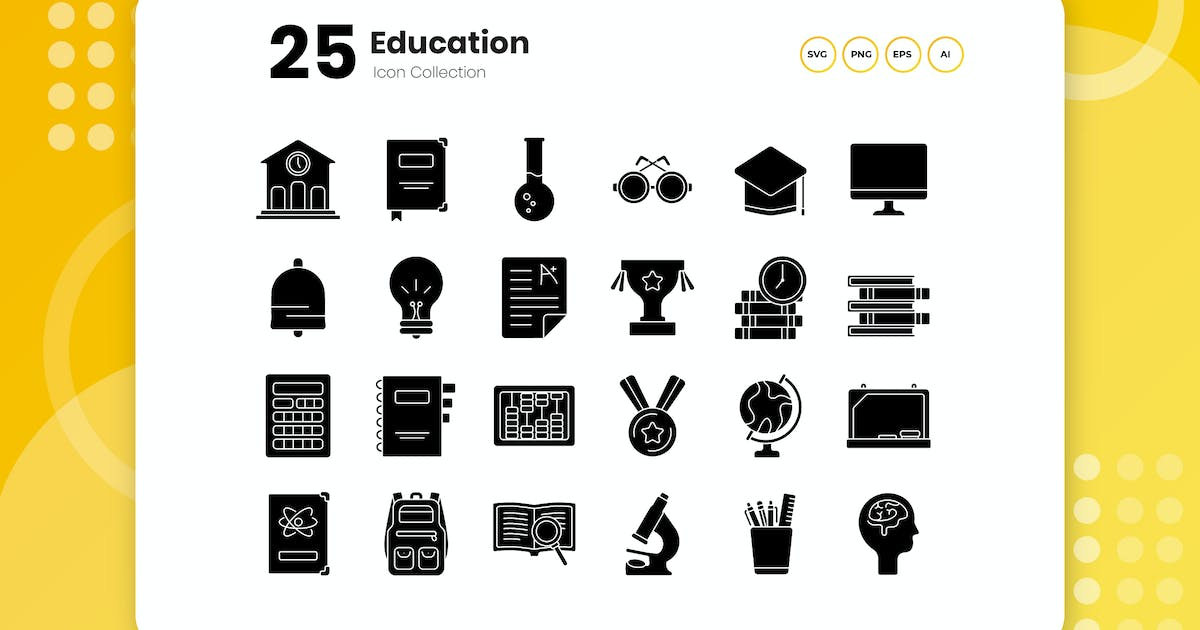 Download 25 Education Glyph Icon Set by vectorclans