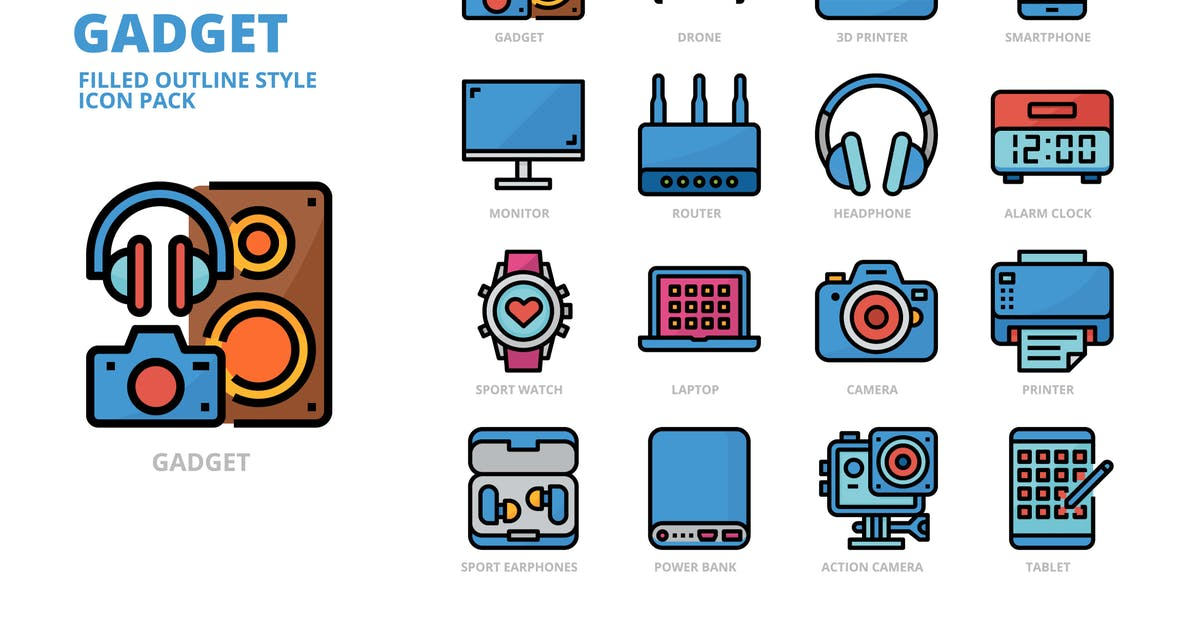 Download Gadget Filled Outline Style Icon Set by monkik