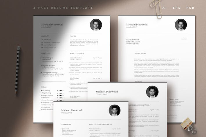 Thumbnail for Modern 4 Page Resume Template