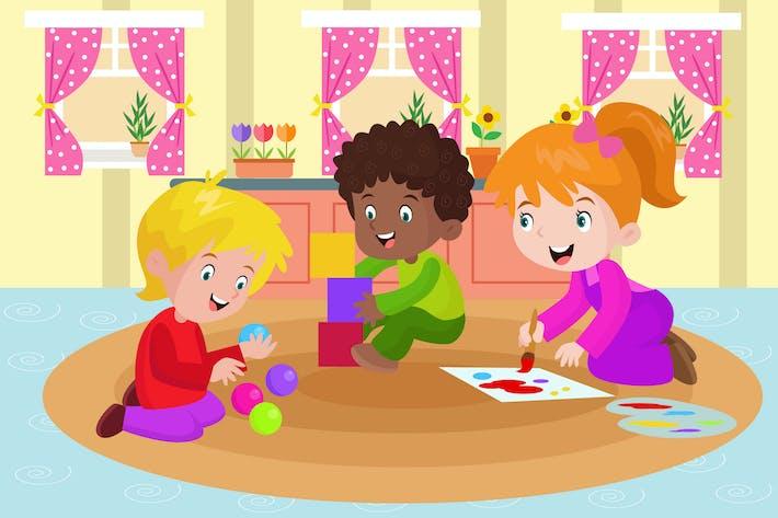 Thumbnail for Kinder spielen Farben - Aktivität Illustration