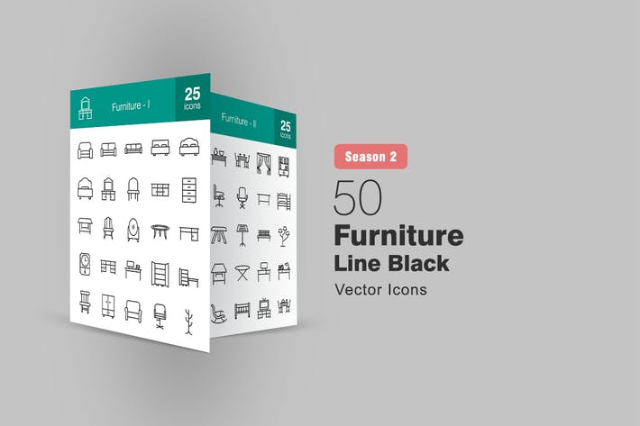 Thumbnail for 50 Furniture Line Icons Season II