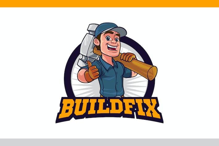 Thumbnail for Cartoon Repairman hält Big Hammer Maskottchen Logo