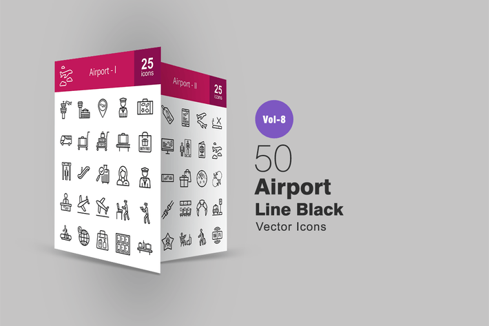 Cover Image For 50 Airport Line Icons