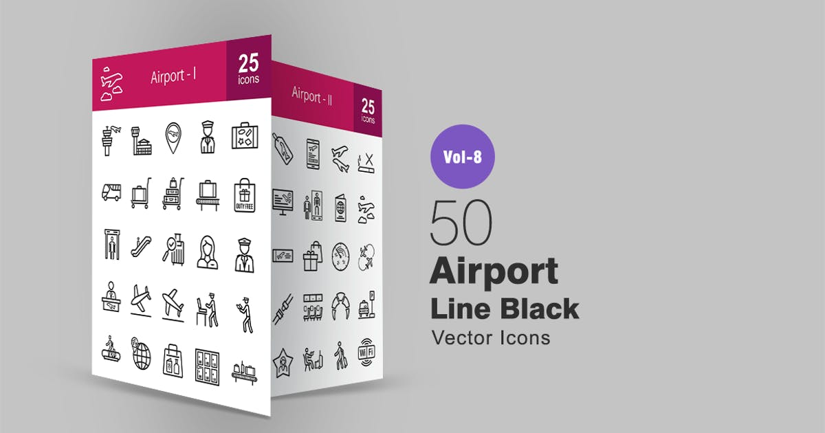 Download 50 Airport Line Icons by IconBunny