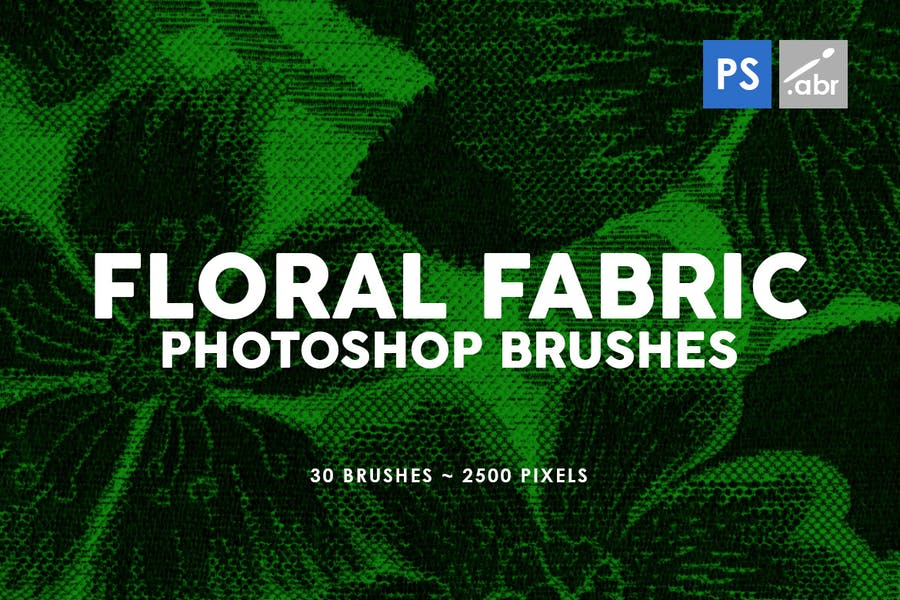30 Floral Fabric Photoshop Stamp Brushes