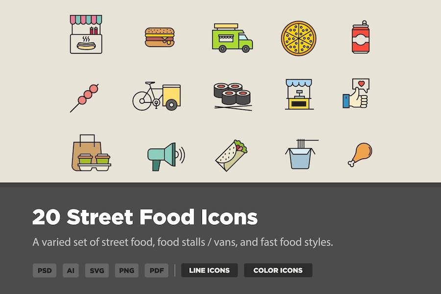20 Street Food Icons